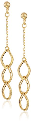 14k Yellow Gold Italian Triple-Link Drop Earrings (Gold Italian Ring compare prices)