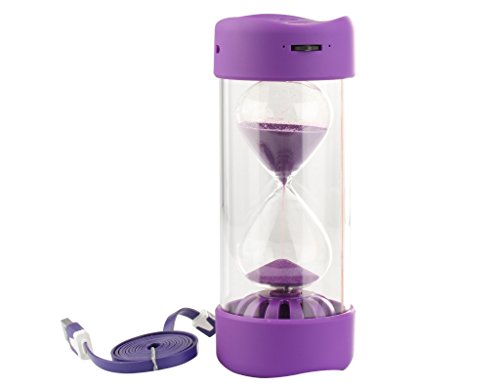 Special Hourglass Timer Design Recharerable Wireless Bluetooth Portable Mini Speaker Recorder With Microphone - Purple