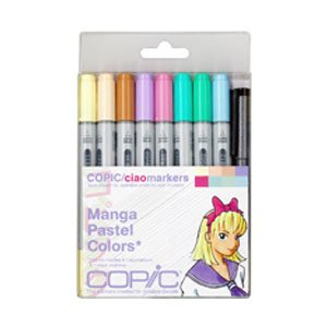 Copic Markers 9-Piece Ciao Manga Set, Pastel (Color: Variety)