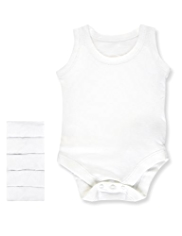 5 Pack Autograph Superfine Pure Cotton Sleeveless Bodysuits