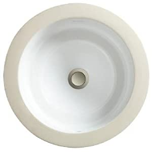 Porcher 12030-00.059 Marquee Large Round Under Counter Lavatory with Overflow, Matte Black