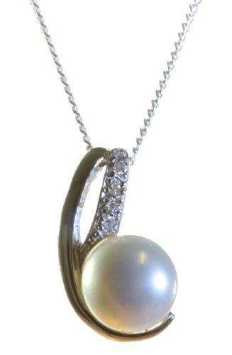 Classical 925 Sterling Silver White 8.0mm Pearl