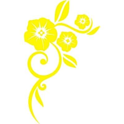 Wandtattoo f274 sehr schöne blumen ranken pflanzen 120x74 cm gelb