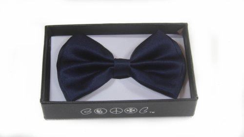 New Tuxedo Classic Bowtie Pure Plain Neckwear Adjustable Unisex Bow Tie (Navy Blue)