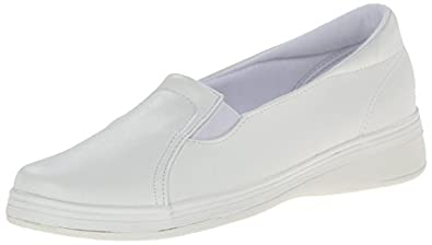 Grasshoppers Women's Jensen Stretch Smooth Slip-On,White Smooth,5 M