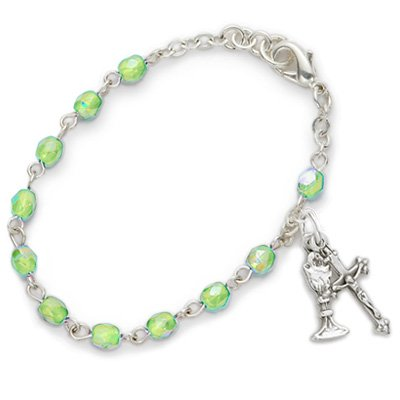 3mm August Peridot Birthstone Rosary Beads First Communion Bracelet with Chalice and Crucifix Charms Christian Jewelry Religious Bracelets Gift Boxed
