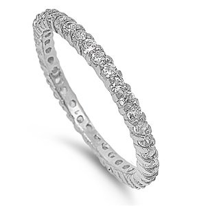 2mm Sterling Silver WHITE GOLD TONE Stackable Handset CLEAR CZ Engagement Eternity Ring 4-10 (10)