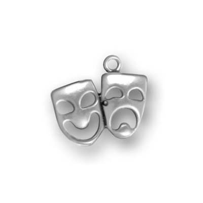 Sterling Silver Charm Comedy Tragedy Theater Masks 14.5mm (1)