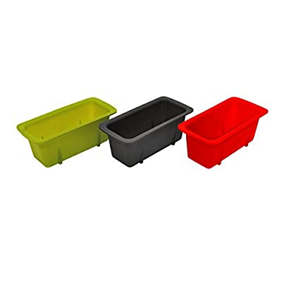 Starfrit Silicone Mini Loaf Pans (Set of 3), Red/Gray/Green