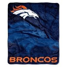 Nfl Licensed Royal Plush Raschel Fleece Throw Blanket (Denver Broncos) front-74928