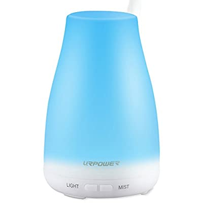 URPOWER 2nd Version Essential Oil Diffuser,100ml Aroma Essential Oil Cool Mist Humidifier with Adjustable Mist Mode,Waterless Auto Shut-off and 7 Color LED Lights Changing for Home Office Baby