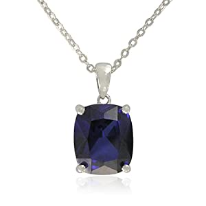 Sterling Silver Cushion-Cut Created Blue Sapphire Pendant Necklace, 18.5""