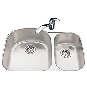 Kindred KSDCRU/9 Double Bowl Undermount Sink, Stainless Steel