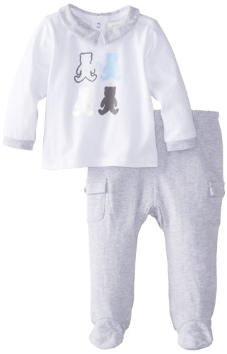 Absorba Baby-Boys Newborn Love Bear Footed Pant Set, White/Grey, 0-3 Months front-848831