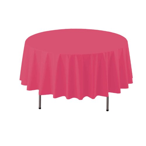"Party Essentials ValuMost Round Plastic Table Cover, 84"", Hot Pink"