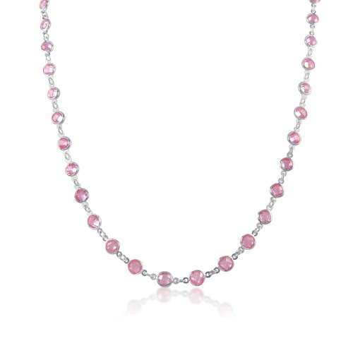 Pink Coin Round 6mm CZ Sterling Silver CZ By The Yard Necklace 24
