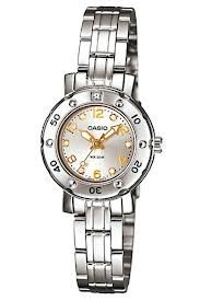 Casio Mini Ladies Analog Watch Ltd-2002d-7avdf Diver Look Design Rhinestone Stainless Steel Limited Edition