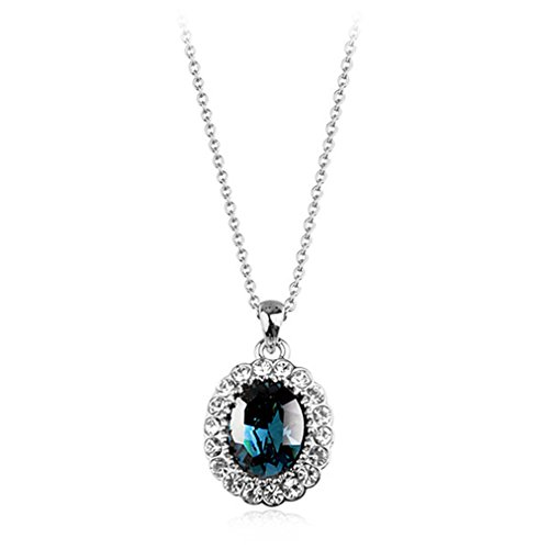 Oval Shaped Swarovski Elements Crystal Pendant Necklace Fashion Jewelry For Women (Sapphire)