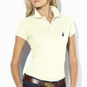 Ralph Lauren Ladies Skinny Fit Polo Shirt with Small Pony - Ladies Designer T-Shirt Top - Available in a wide range of colours and sizes (L - (Sizes 12-14), Cream)