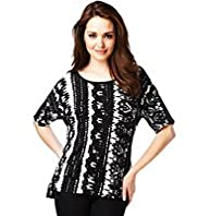 Petite Blurred Abstract Print Top