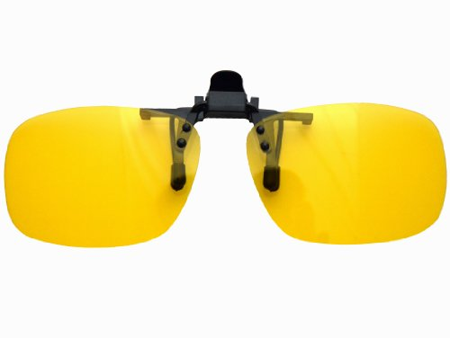 Yellow Night Vision Retro Polarized Clip-on Flip-up Plastic Sunglasses Driving Traveling-5.3X2.4X1.4 INCH