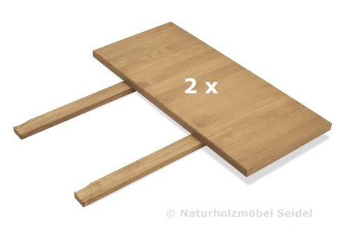 2 Ansteckplatten 40x80cm für Esstisch ,,Rio Bonito,, 120×80, 140×80 und 160x80cm, Pinie Massivholz, geölt und gewachst, Tisch Farbton Honig hell
