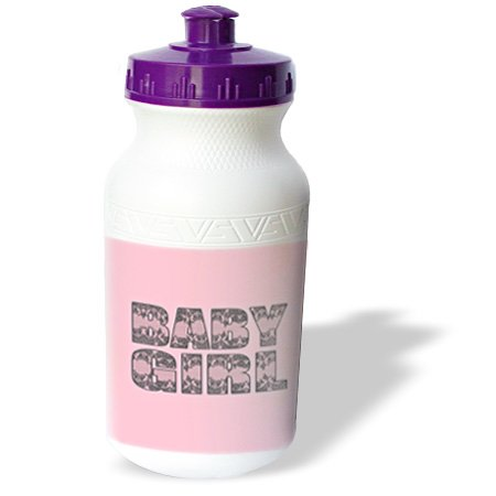 Wb_185455_1 Janna Salak Designs Baby - Cute Lace Design Baby Girl Pink And Grey - Water Bottles front-237890