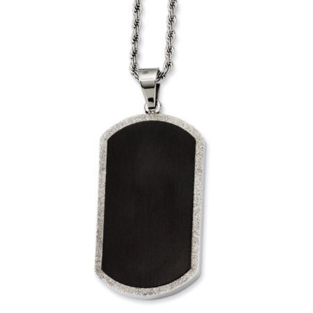 Stainless Steel Black-plated Laser Cut Dog Tag Necklace 24 Inch