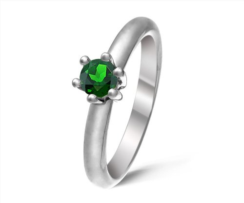 Modern 9 ct White Gold Ladies Solitaire Engagement Ring with Chrome Diopside 0.50 Carat