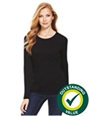 M&S Collection Pure Cotton Crew Neck Top with StayNEW™