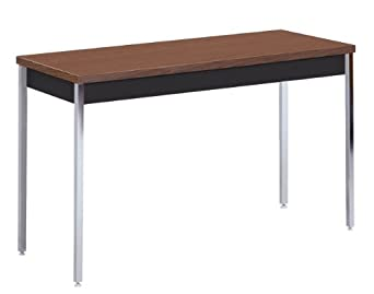 "Sandusky Lee AT6030-BW Black Powder Coat Activity/Utility Table with Walnut Top, 29"" Height x 60"" Width x 30"" Depth"