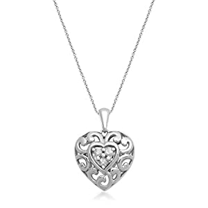 Gold Plated Over Sterling Silver 1/6ct Diamond Filigree Heart Pendant Necklace, 18