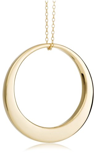 18k Yellow Gold Plated Sterling Silver Open Circle Pendant, 18""