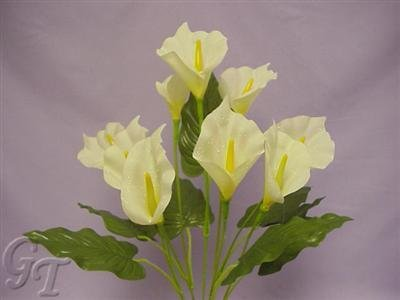 Artificial Silk Flower 9 heads 52cm Dew Drop Calla Lily Bush (Cream) from GT Decorations