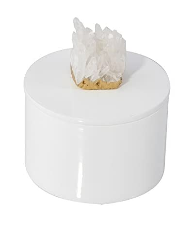 Mapleton Drive Round White Lacquer Box with Himalayan Crystal