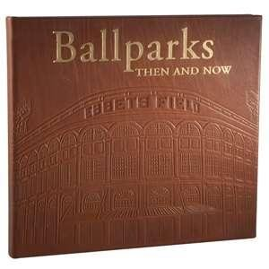 BALLPARKS - THEN AND NOW special edition book in genuine brown full grain leather -
