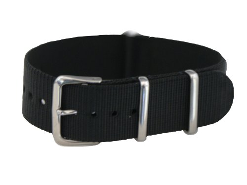 20mm Black - Nylon Nato Ballistic Military Watch Band Strap G-10