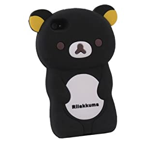 Black Rilakkuma Bear Hard Case Cover for iPhone 4 4S 4G