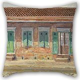 Oil Painting William Woodward - House On Dumaine Street, New Orleans Throw Pillow Case ,best For Deck Chair,wife,gf,christmas,bench,deck Chair 16 X 16 Inches / 40 By 40 Cm(two Sides)