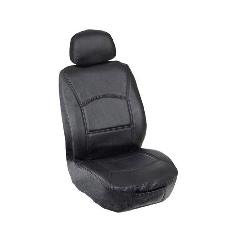 Elegant Universal Front Bucket Seat Cover - Genuine Leather Fabric (Black)