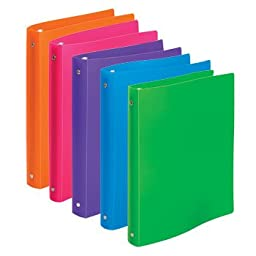 Brightly Colored Flexible Poly 3-Ring Binders, 1\