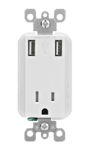 Leviton T5630-W 2.1-Amp High Speed USB Charger/Tamper-Resistant Receptacle, 15-Amp/125-Volt, White