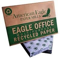 100% Recycled Copy Fax Laser Printer Paper, 8 1/2 Inch x 11 Letter Size, 20 Lb., 92 Bright White, Acid Free, Ream, 500 Sheets By American Eagle