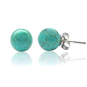 Bling Jewelry 925 Sterling Silver Turquoise Gemstone Ball Stud Earrings 6mm