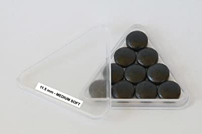 Wonders Shop USA New Billiards Cue Tips 100% Genuine Buffalo Hide EXCLUSIVE BUFFALO BRAND - 11.5 mm MEDIUM SOFT Rating - 10 Pieces Per Pack - COLOR BLACK