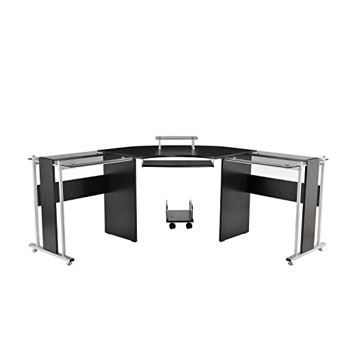 HomCom 69 in. Modern L-Shaped Symmetrical Glasstop Office Wo