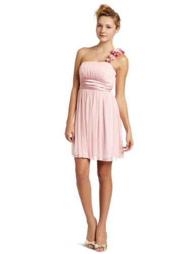 My Michelle Juniors One Shoulder Dress, Pink, Medium