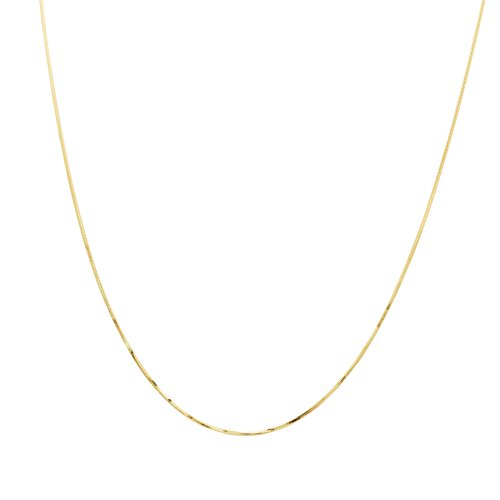 Duragold 14k Yellow Gold Solid 8-Sided Diamond-Cut Snake Chain Necklace (.90mm), 20
