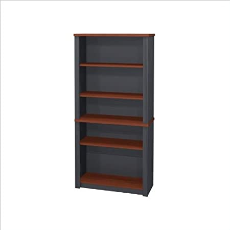 Bestar Prestige Wood Bookcase in Bordeaux & Graphite