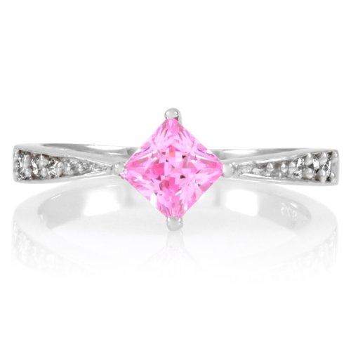 Elisa's Promise Ring - Pink Princess Cut CZ